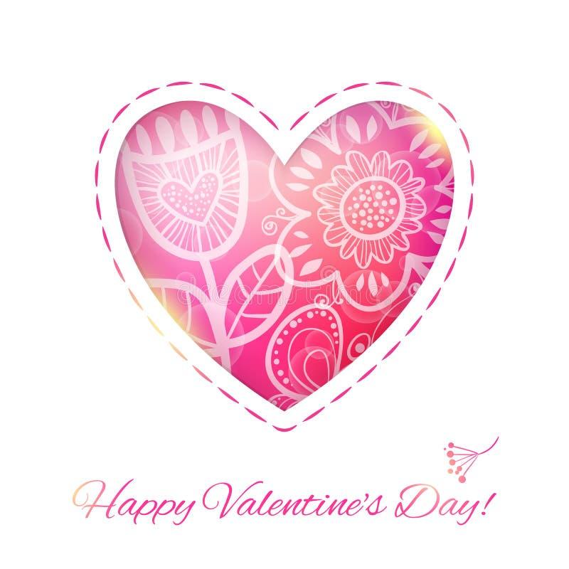 Hjärtaförälskelsekort med blomman. Vektorillustrationen, kan användas som royaltyfri illustrationer