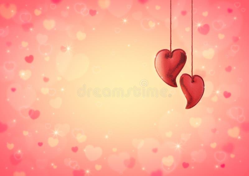 Hjärtaförälskelseleksak på röd hjärtabokeh för suddighet för valentin royaltyfri illustrationer