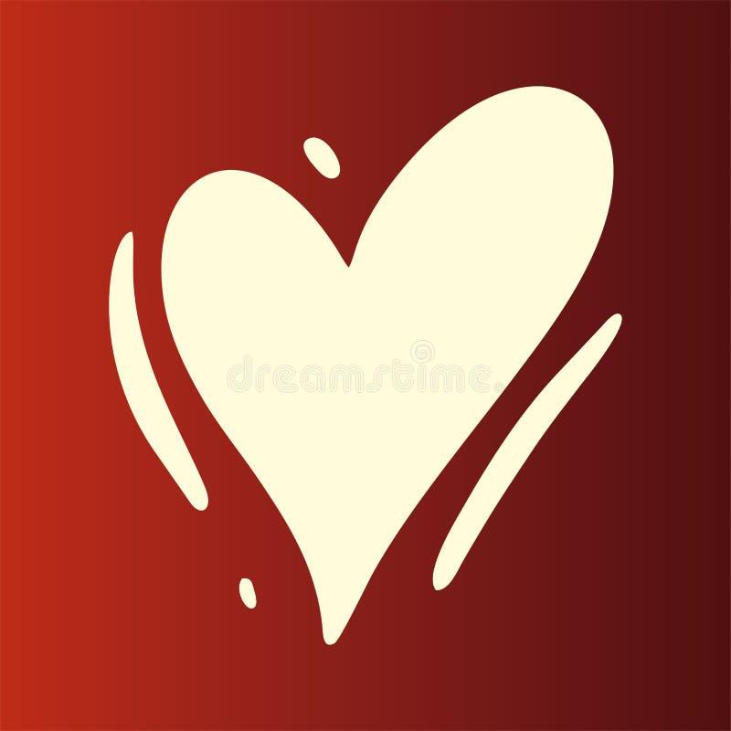 Hjärtaförälskelsevektor Modern borstekalligrafi Romantisk illustration som isoleras på bakgrund vektor illustrationer