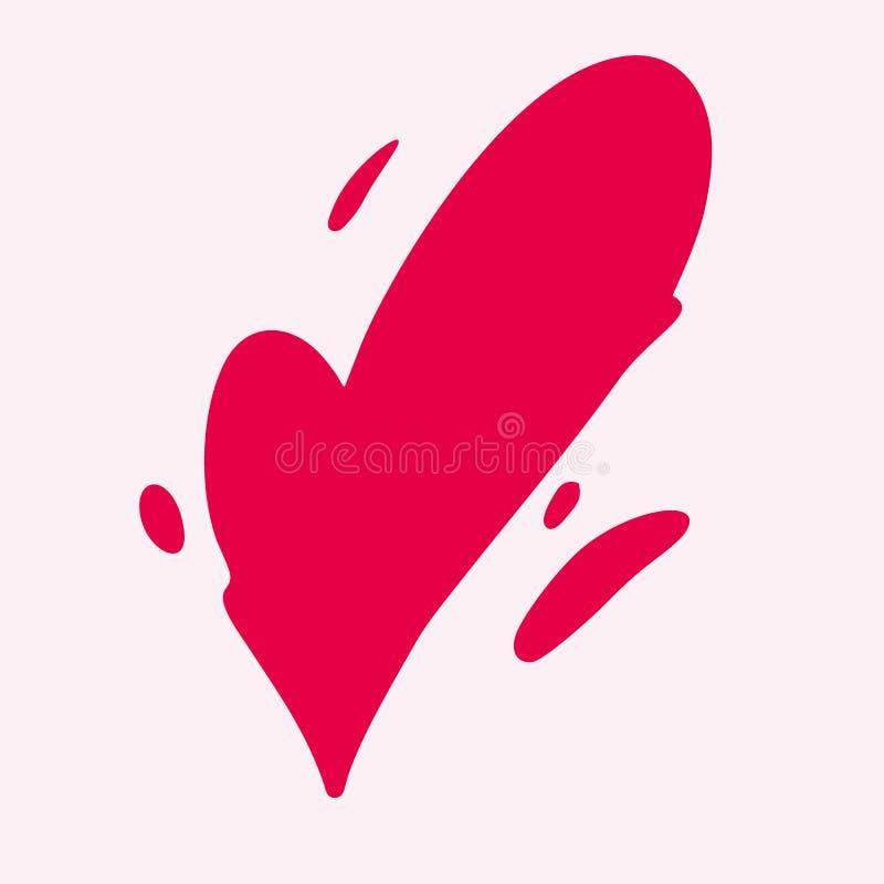 Hjärtaförälskelsevektor Modern borstekalligrafi Romantisk illustration som isoleras på bakgrund stock illustrationer