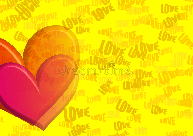 hjärtaförälskelseyelo royaltyfri illustrationer