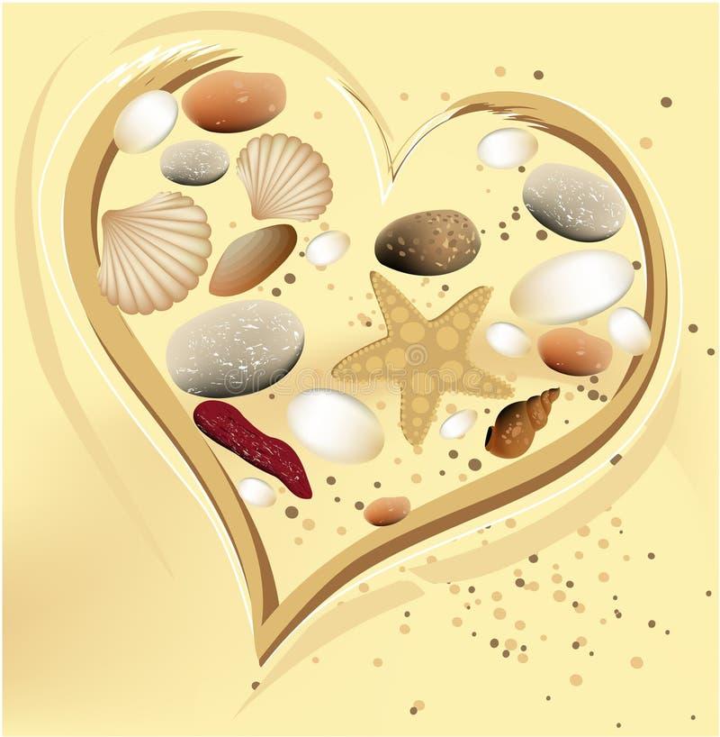 hjärtaferiesand royaltyfri illustrationer