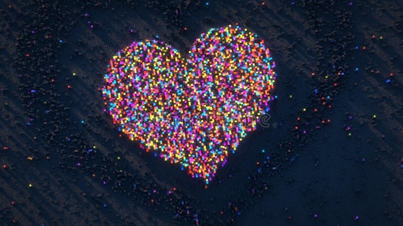 Hjärtaform av den färgrika tolkningillustrationen för PIXEL 3D stock illustrationer