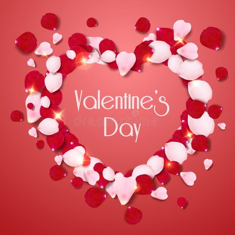 Hjärtaform av rosa och röda realistiska rosa kronblad på röd bakgrund Valentindagkort med kronblad och bokstäver stock illustrationer