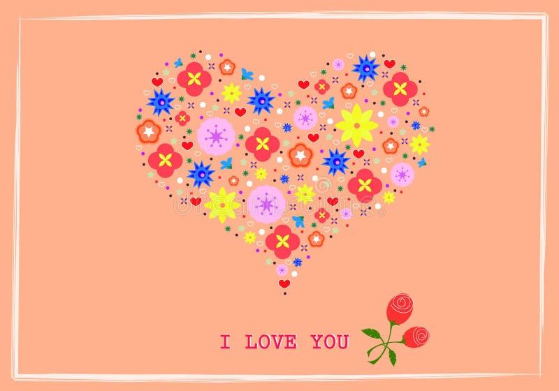 Hjärtaform blommar bakgrund vektor illustrationer