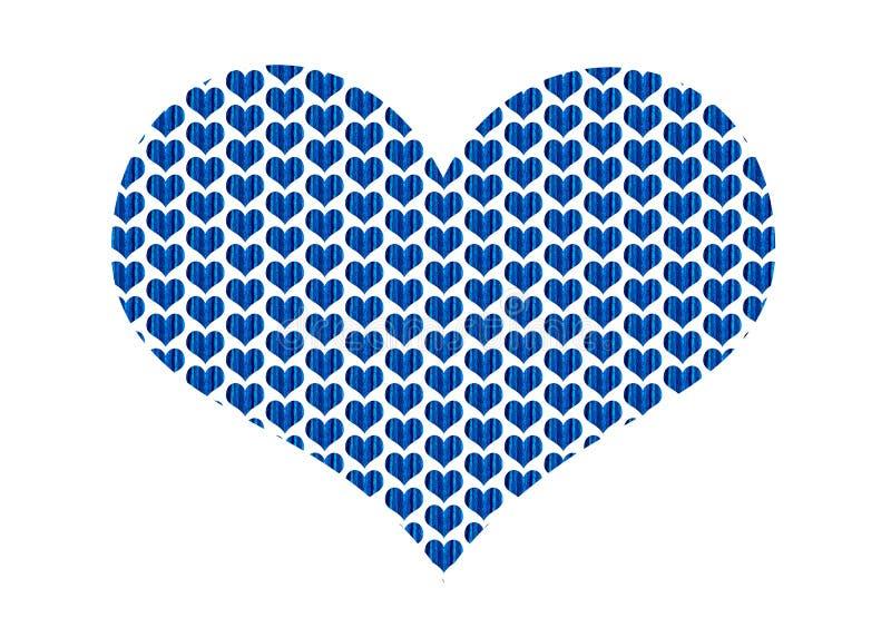 Hjärtaform fyllde med blåa tyghjärtor i en repetitionmodell stock illustrationer