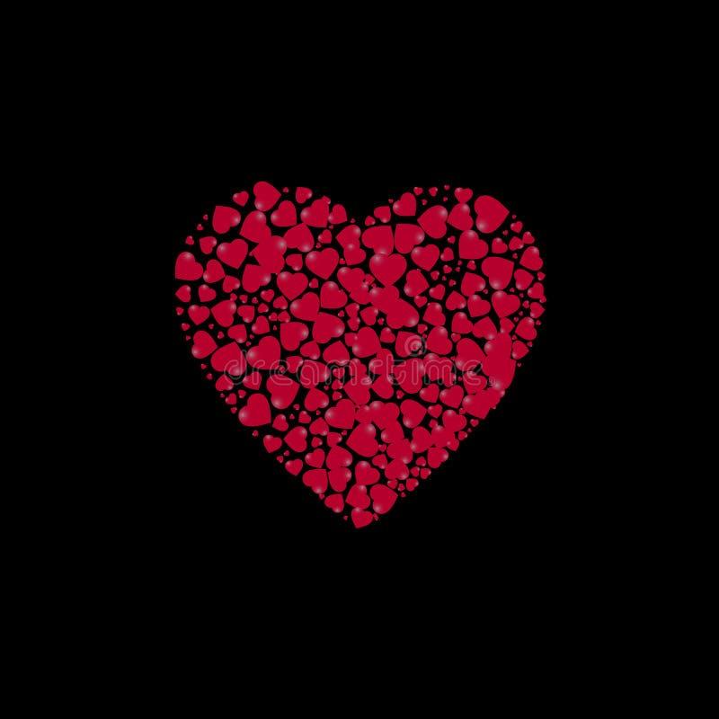 Hjärtaform fyllde med hjärtor på en svart bakgrund också vektor för coreldrawillustration royaltyfri illustrationer