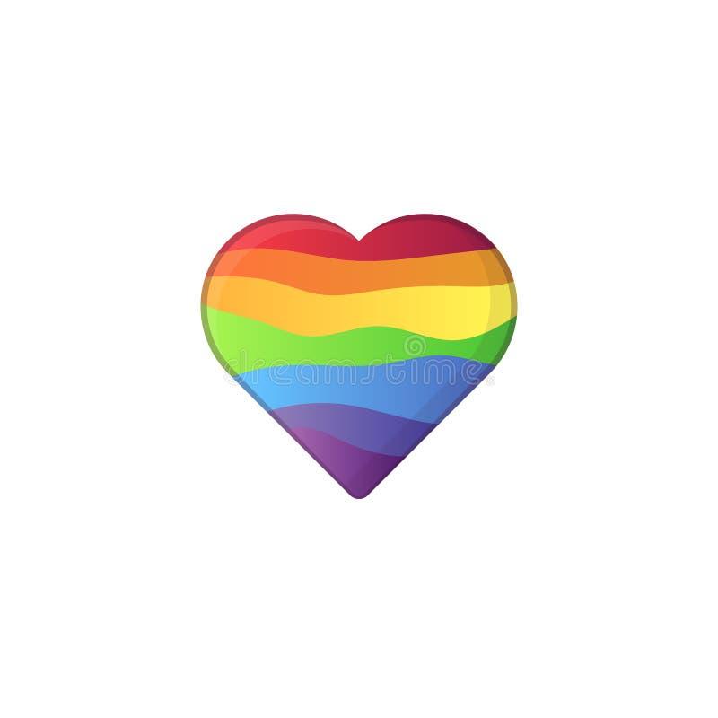 Hjärtaform i lgbtregnbågefärger stock illustrationer