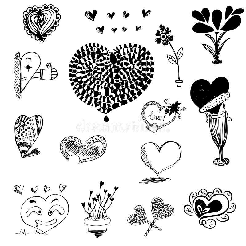 Hjärtaform i teckning skissar vektorillustrationen vektor illustrationer