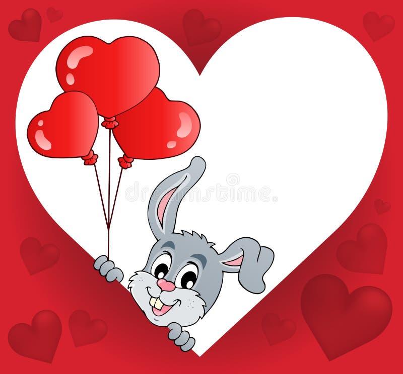 Hjärtaform med att lura kanintema 2 vektor illustrationer