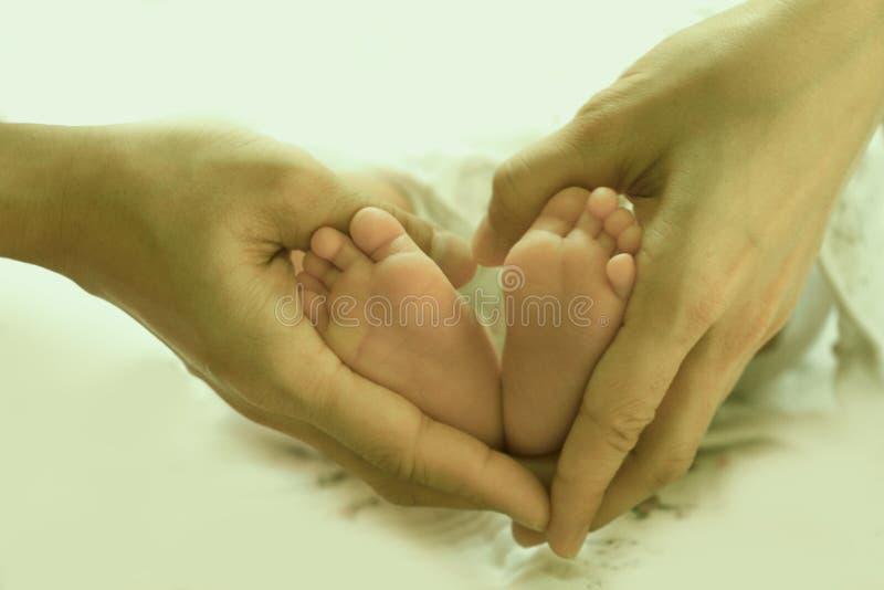 Hjärtaform med de nyfödda benen för förälskelse- och omsorgbegrepp royaltyfri bild