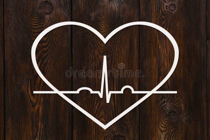 Hjärtaform med echocardiogramen Hälso- eller kardiologibegrepp stock illustrationer