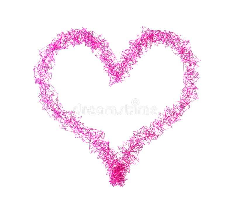 Hjärtaform med rosa anslutning fodrar för dagen för valentin` s, 3d vektor illustrationer