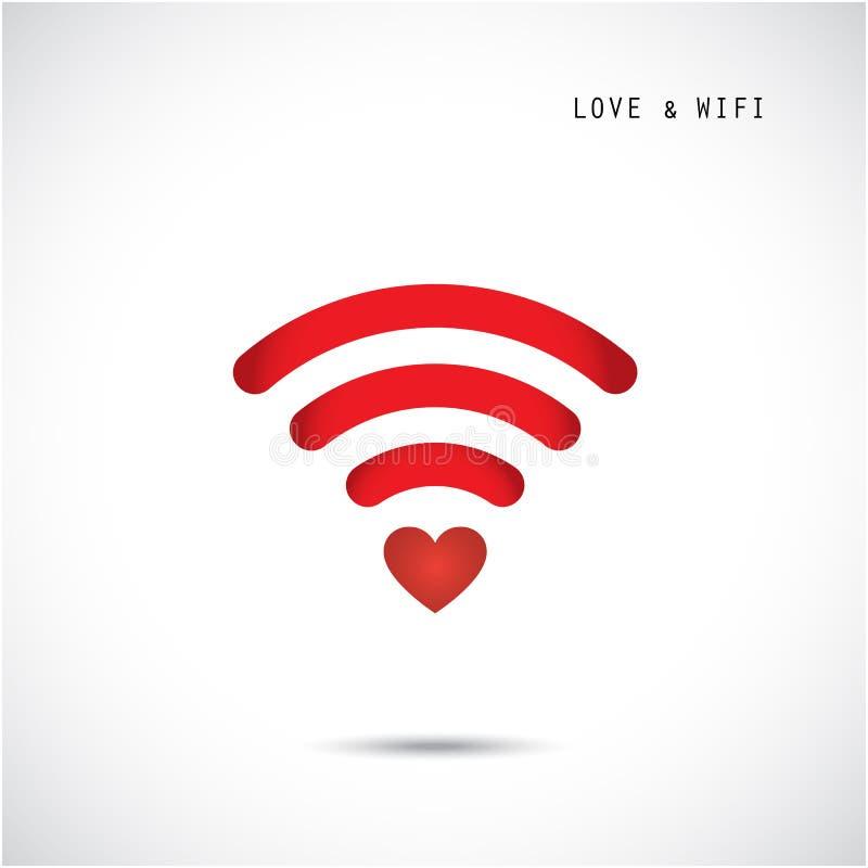 Hjärtaform och wifitecken Lycklig valentin dagbakgrund stock illustrationer