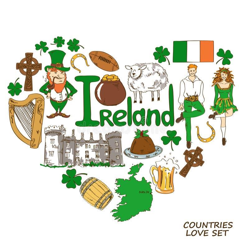 Hjärtaformbegrepp av irländska symboler stock illustrationer