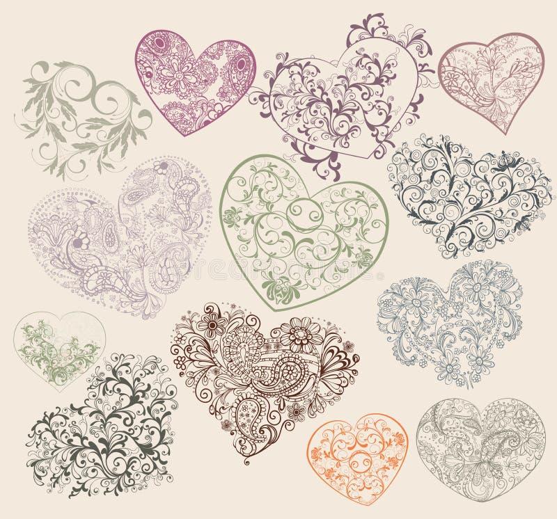 hjärtaformer stock illustrationer