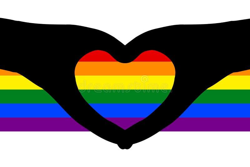 Hjärtaformer av konturhänder skuggar på färgrika regnbågeband Vektorillustration, EPS10 royaltyfri bild