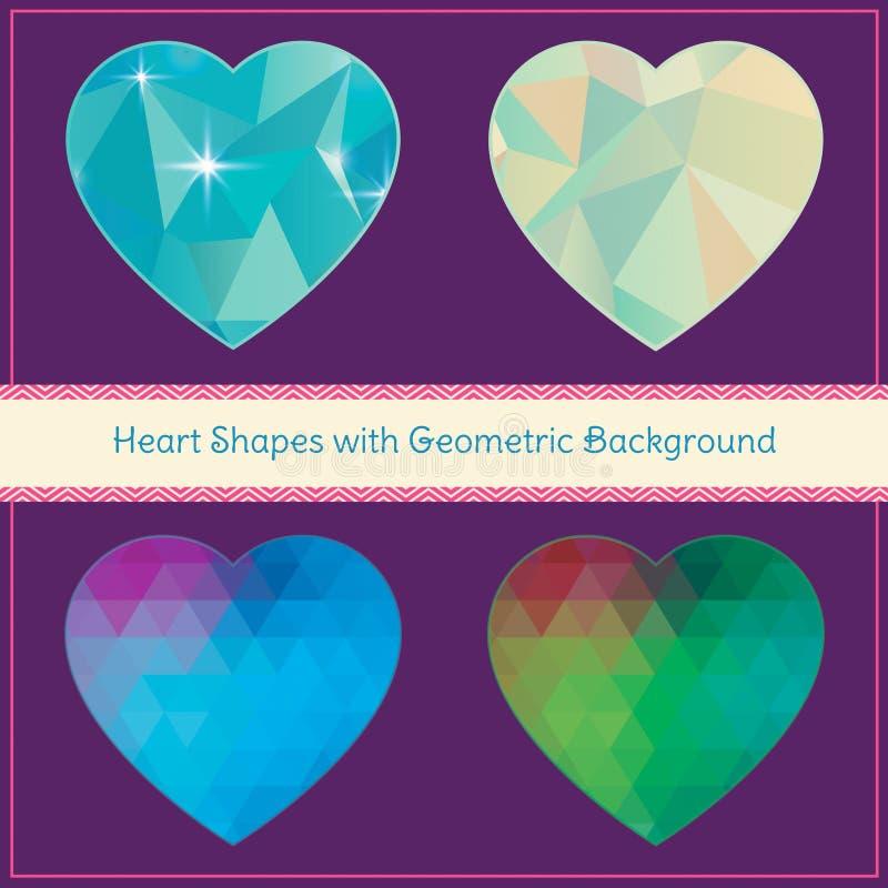 Hjärtaformer med geometrisk Grungebakgrund stock illustrationer