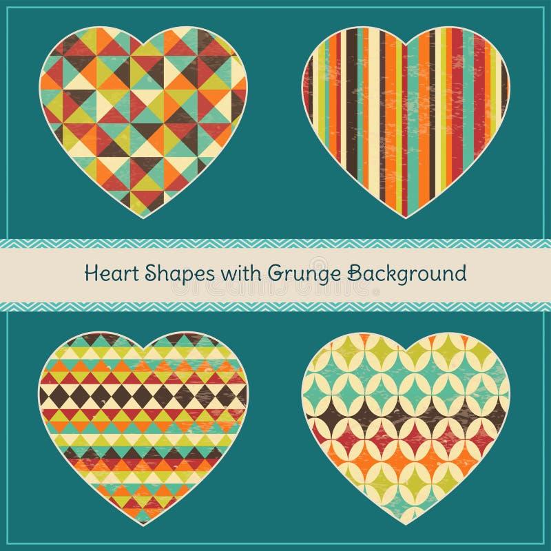 Hjärtaformer med geometrisk Grungebakgrund vektor illustrationer