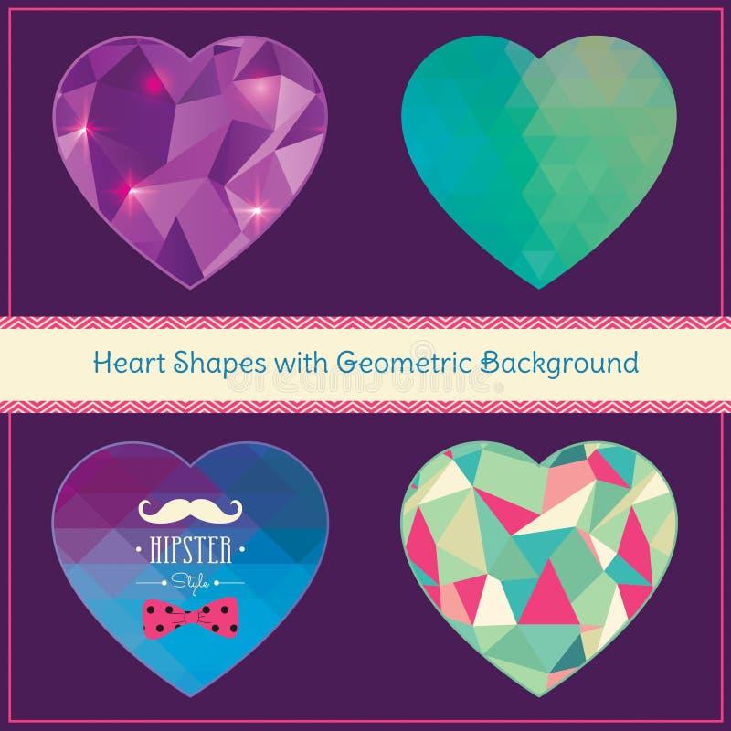 Hjärtaformer med geometrisk Grungebakgrund royaltyfri illustrationer