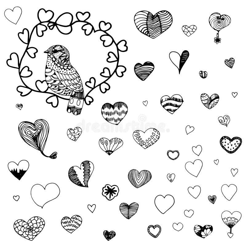Hjärtaformmodell och zentangle av fågeln i svart linje vektor illustrationer