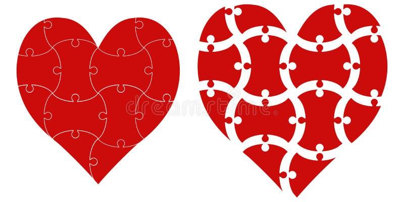 Hjärtaformpussel, valentin för dag för förälskelse för infographics för mall för vektorhjärtapussel royaltyfri illustrationer