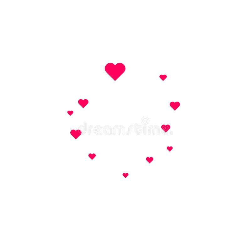 Hjärtaformrosa färger och röd bakgrund för dag för konfettivektorvalentin vektor illustrationer
