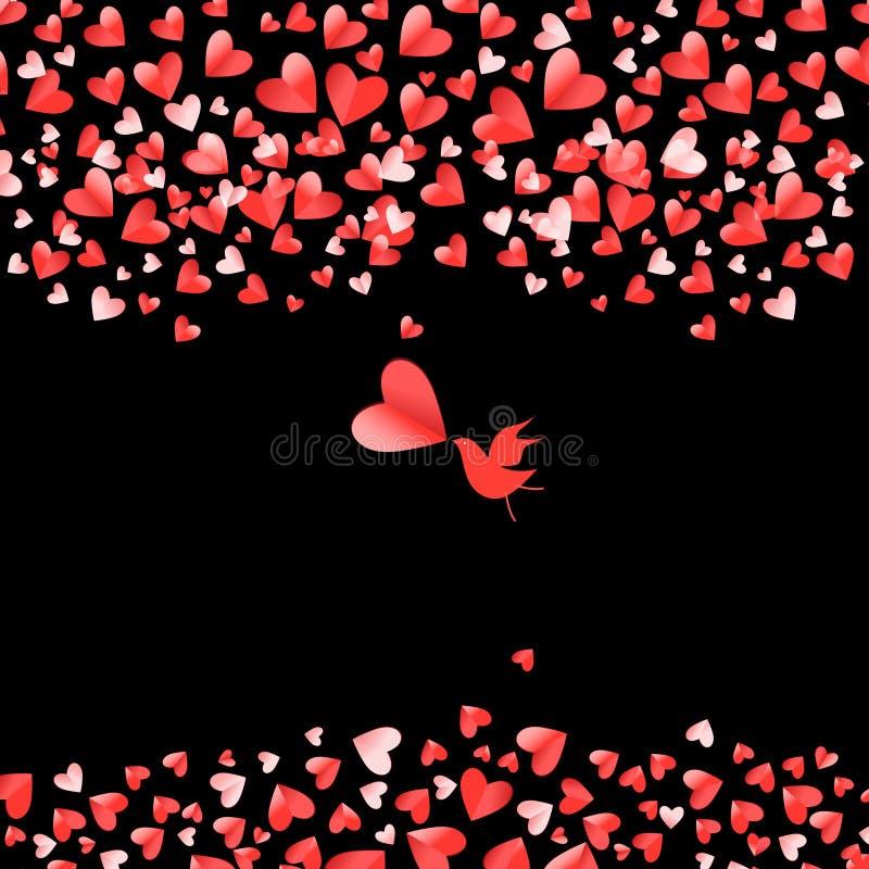 Hjärtaformrosa färger och röd vektorvalentindag stock illustrationer
