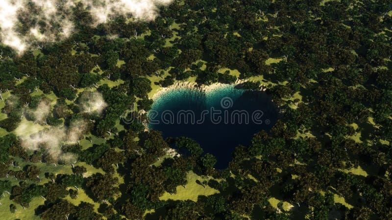 Hjärtaformsjö som ses från ovannämnt mellan träd vektor illustrationer