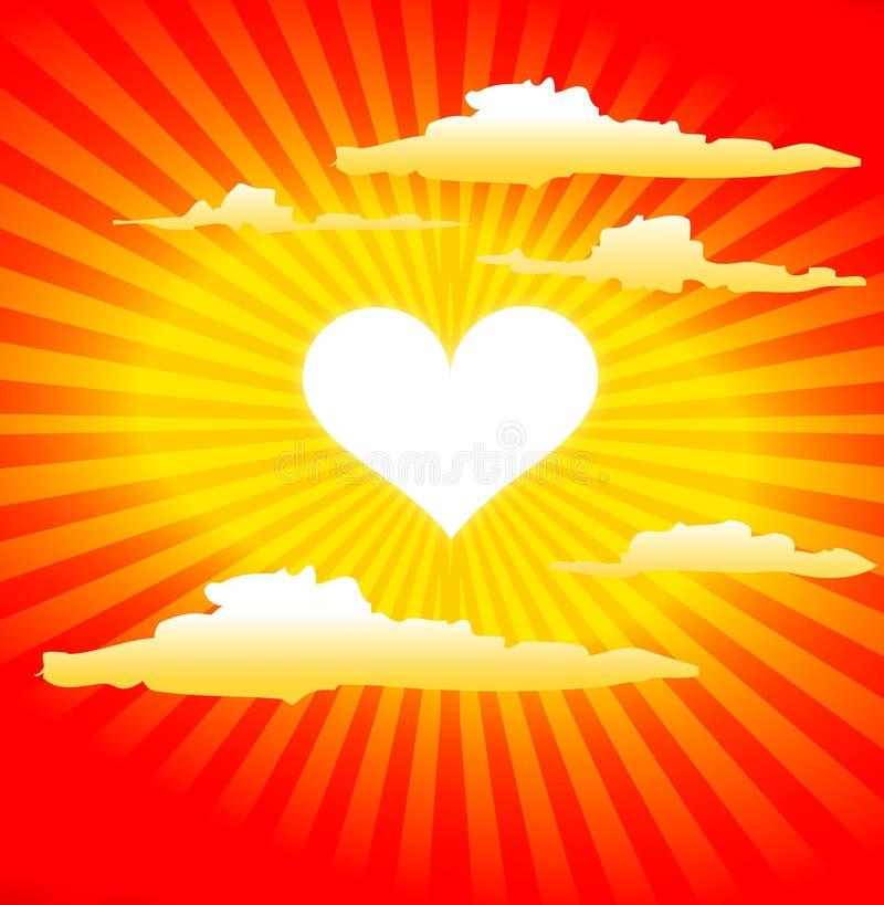 hjärtaformsun vektor illustrationer