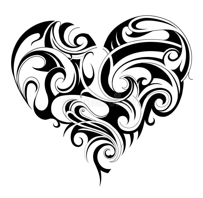 Hjärtaformtatuering royaltyfri illustrationer