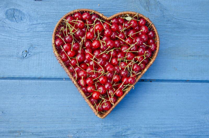 Hjärtaformträvide- korg mycket av körsbärsröda frukter royaltyfri foto