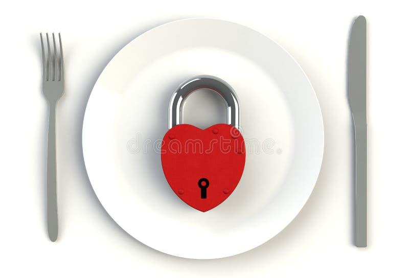 Hjärtahänglås på plattan, kniven och gaffel på den vita tabellen royaltyfri illustrationer