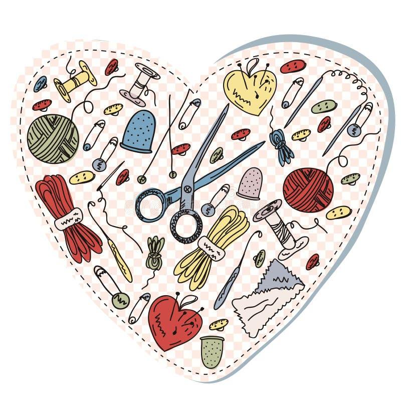 hjärtahandarbetesömnad stock illustrationer