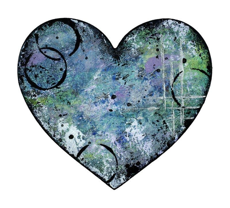 Hjärtaillustration för blandat massmedia i skuggor av blått och grönt stock illustrationer