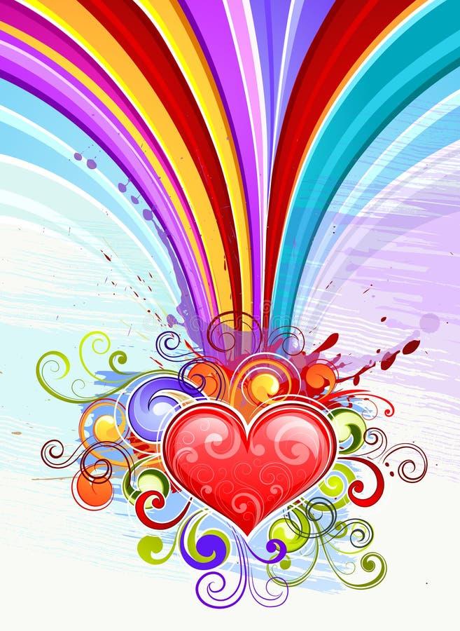 hjärtaillustrationregnbåge vektor illustrationer