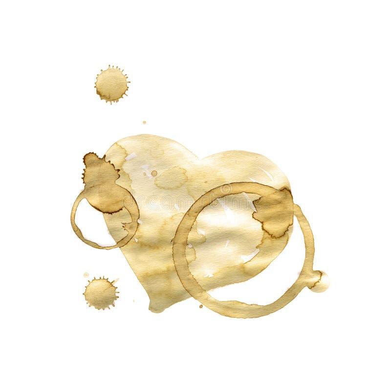 Hjärtakaffefläck som isoleras på vit bakgrund royaltyfri illustrationer