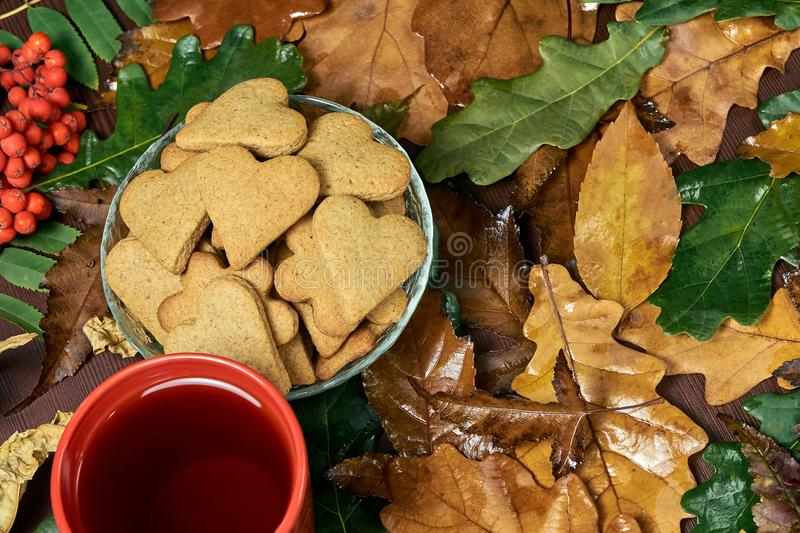 Hjärtakaka svart tea isolerad rönnwhite för bakgrund filial olika leaves royaltyfria foton
