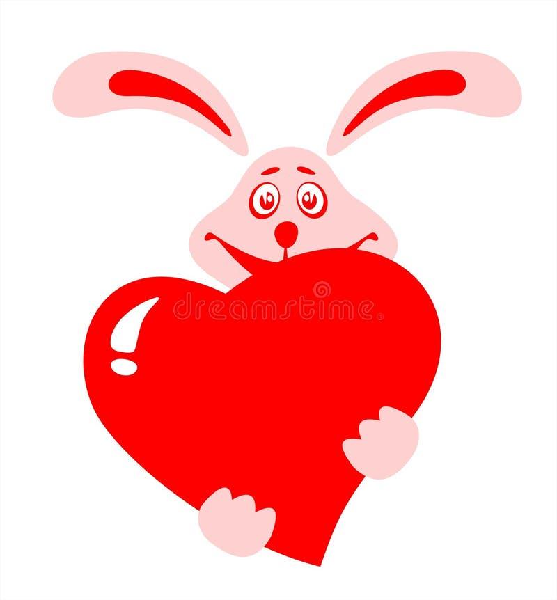 hjärtakanin vektor illustrationer