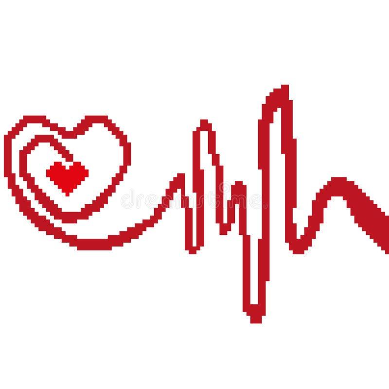 Hjärtakardiogramkontur som dras av fyrkanter, PIXEL Teckensymbol av medicin också vektor för coreldrawillustration vektor illustrationer