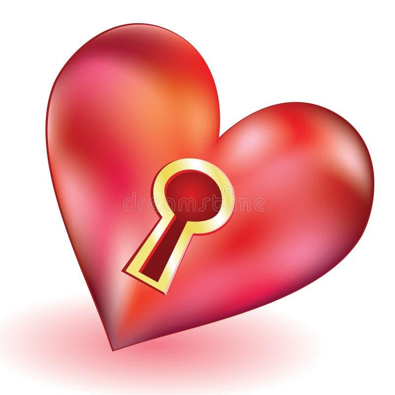 hjärtakeyhole vektor illustrationer