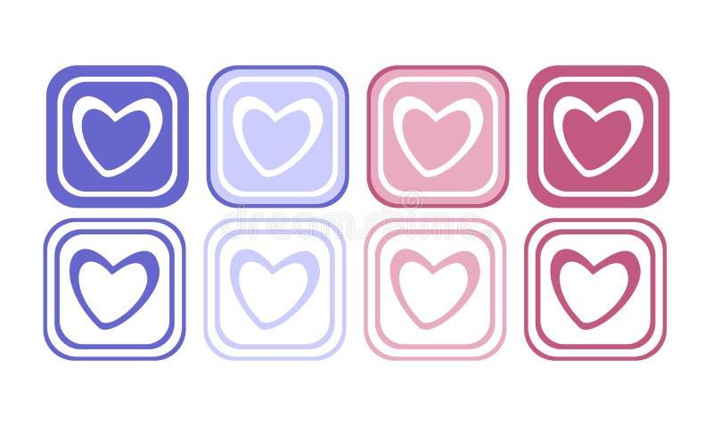 Hjärtaknappuppsättning royaltyfri illustrationer