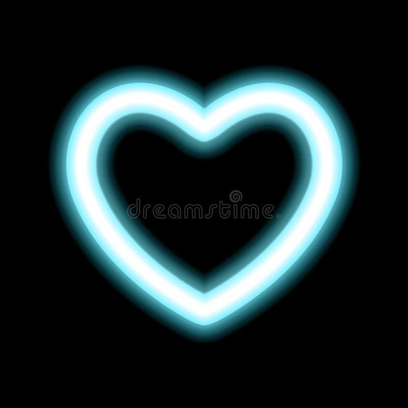 Hjärtakonturneon eller strålningseffekt för blått glöd av förälskelse med utrymme för valentindag Dekorativ feriedesign, natt av  royaltyfri illustrationer
