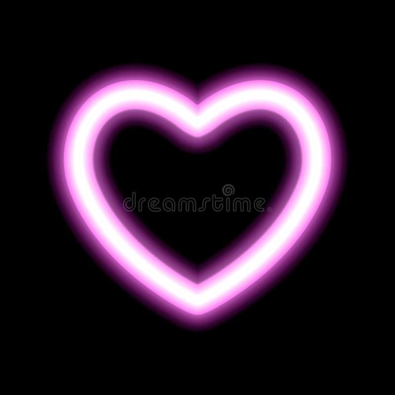 Hjärtakonturneon eller strålningseffekt för rosa glöd av förälskelse med utrymme för valentindag Dekorativ feriedesign, natt av r royaltyfri illustrationer