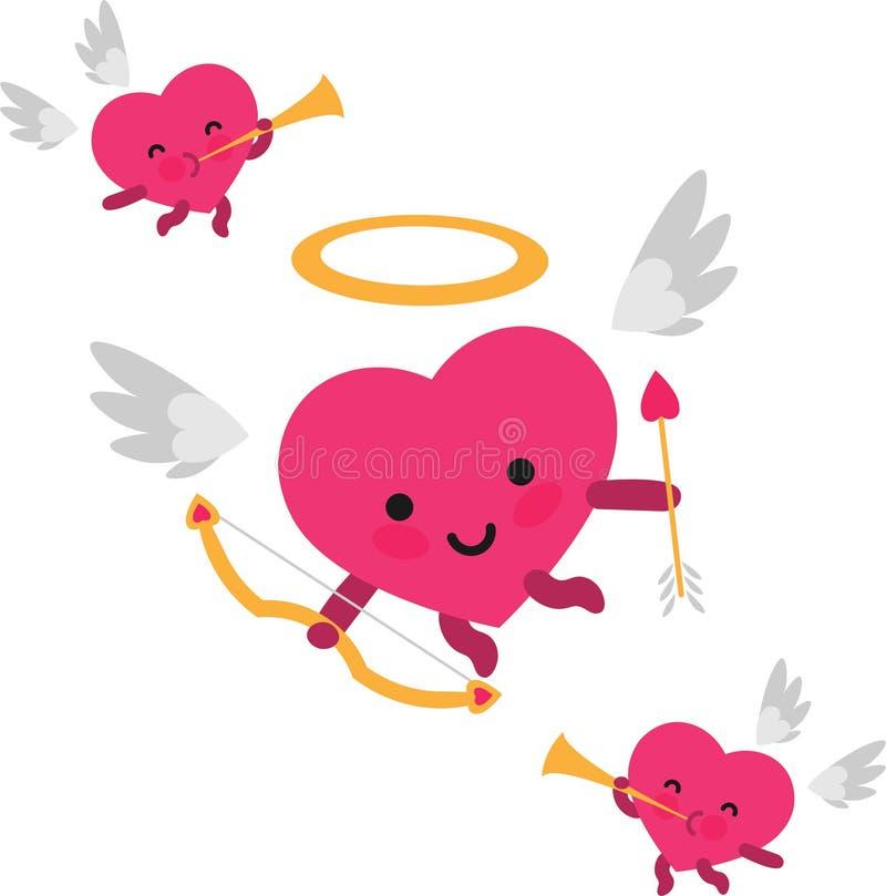 Hjärtakupidon- och trumpetänglar för valentindag stock illustrationer