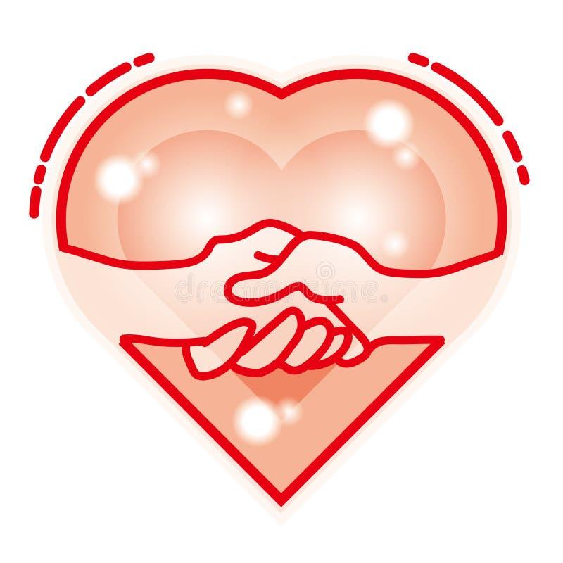 Hjärtalogo/handskakning royaltyfri illustrationer