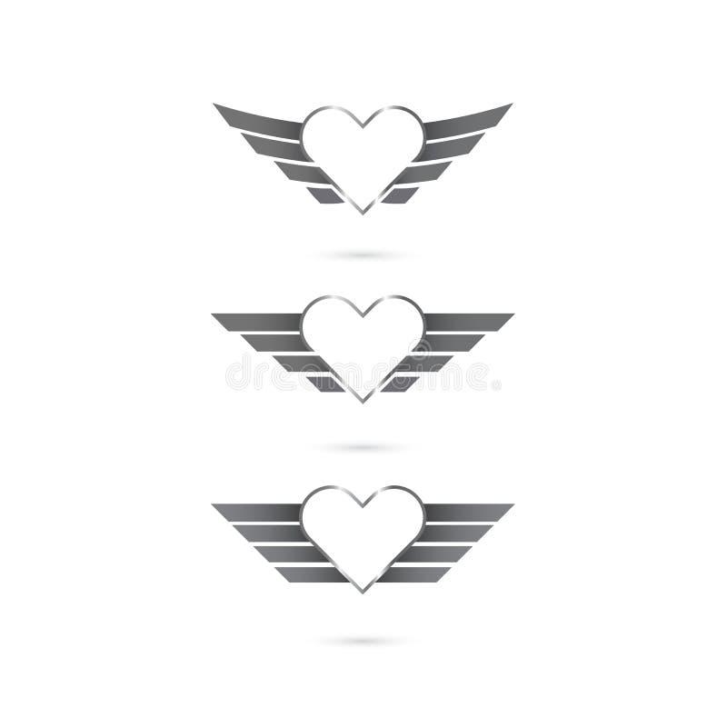 Hjärtalogoen med ängel påskyndar på bakgrund också vektor för coreldrawillustration stock illustrationer