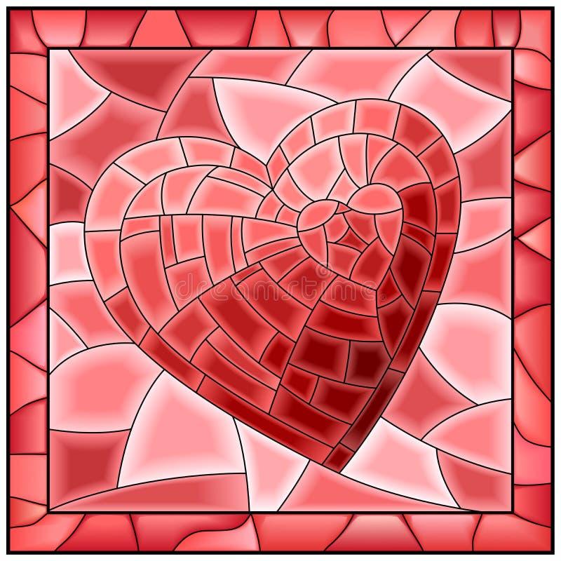 Hjärtamålat glassfönstret med inramar. vektor illustrationer