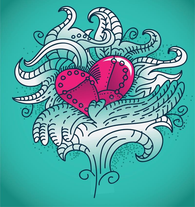 hjärtametalltatuering royaltyfri illustrationer