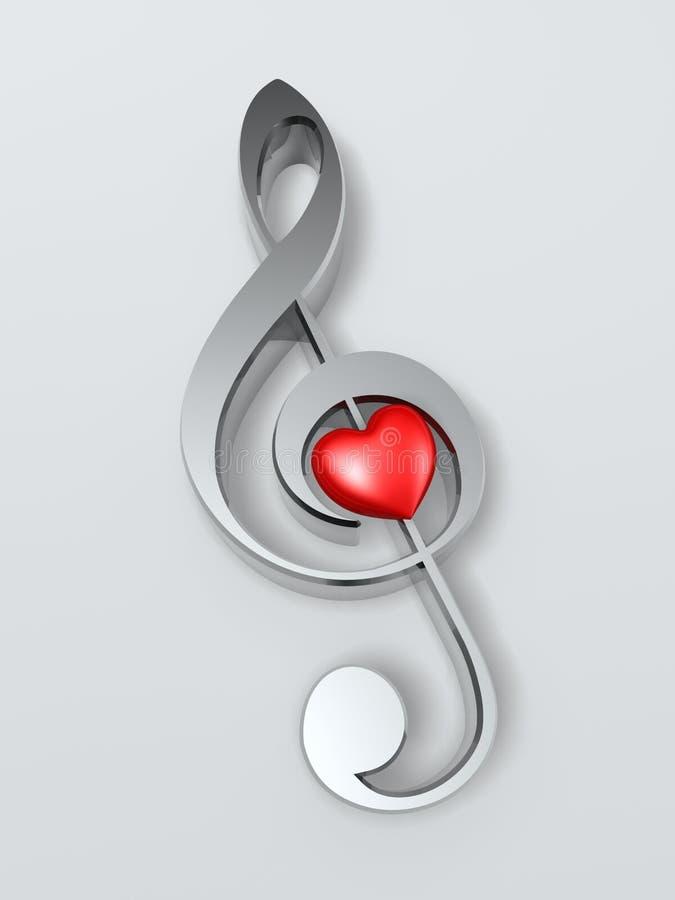 hjärtamusiksymbol vektor illustrationer